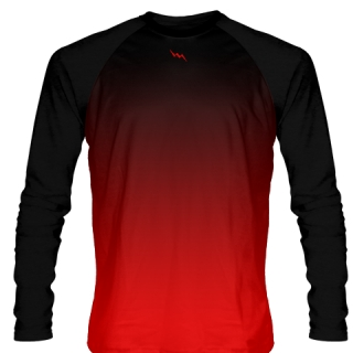 Black Red Long Sleeve Basketball Shirts