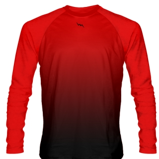 Red Black Long Sleeve Basketball Shot Shirt