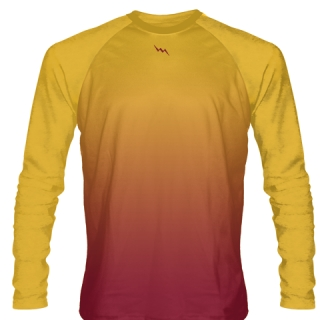 Gold Maroon Basketball Tee Shirt Long Sleeve
