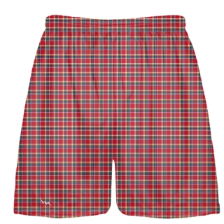 Plaid Lacrosse Shorts - Red Plaid Lax Shorts