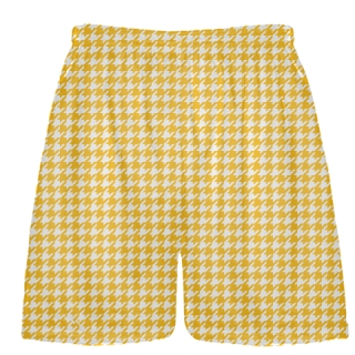 Athletic Gold Houndstooth Shorts - Lacrosse Shorts