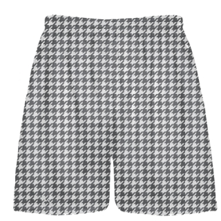 Charcoal Gray Houndstooth Shorts - Sublimated Shorts