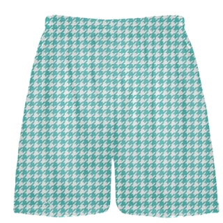 Turquoise Houndstooth Shorts - Sublimated Shorts
