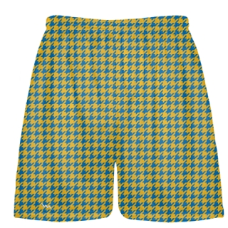Blue Gold Houndstooth Shorts - Sublimated Shorts