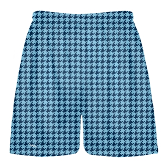 Navy Blue Powder Blue Houndstooth Shorts - Sublimated Shorts