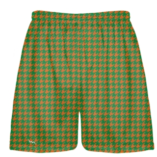 Kelly Green Orange Houndstooth Shorts - Sublimated Shorts