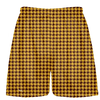 Maroon Gold Houndstooth Shorts - Sublimated Shorts