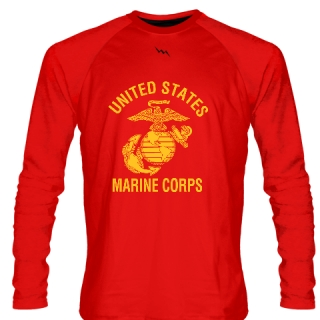 Red Marine Corps Long Sleeve Shirts Gold Logo - Marine Shirts