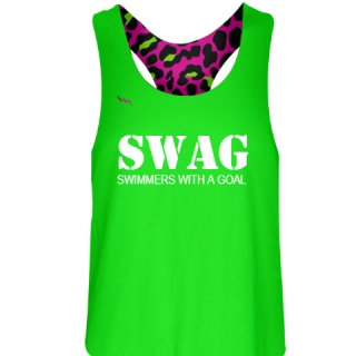Neon Green Swimmers With a Goal Pinnie - Girls Pinnies