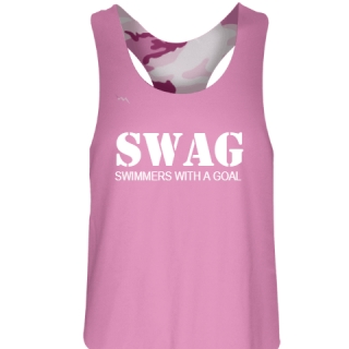 Pink Camouflage Swimmers With a Goal Pinnie - Girls Pinnies