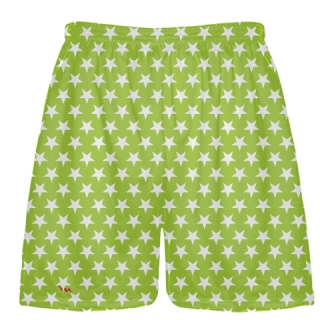 Neon Green White Stars Shorts - Sublimated Shorts