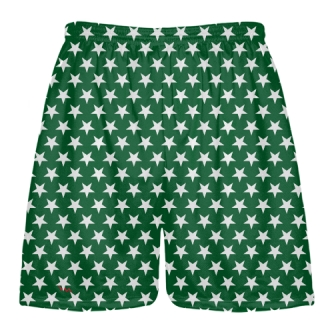 Forest Green White Stars Shorts - Sublimated Shorts