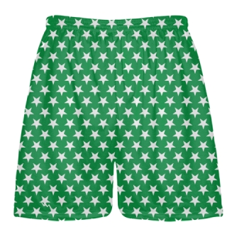 Kelly Green White Stars Shorts - Sublimated Shorts