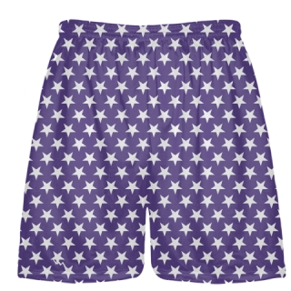 Purple White Stars Shorts - Sublimated Shorts