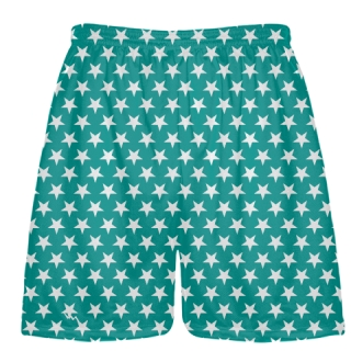 Teal White Stars Shorts - Sublimated Shorts