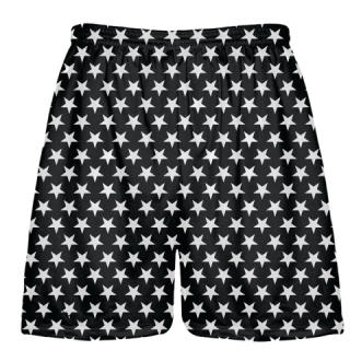 Black White Stars Lacrosse Shorts - Sublimated Shorts