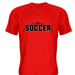 Red Soccer Jerseys V Neck