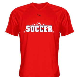 Red White Logo Soccer Jerseys V Neck