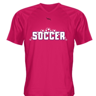 Hot Pink Soccer Jerseys V Neck