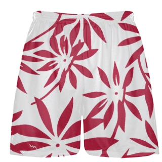 Maroon Hawaiian Lacrosse Shorts -  Hawaiian Basketball Shorts