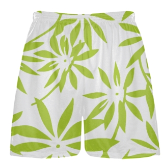 Neon Green Hawaiian Lacrosse Shorts -  Hawaiian Basketball Shorts