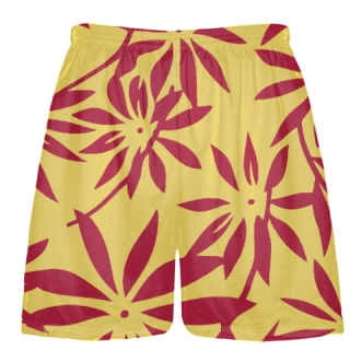 Gold Red Hawaiian Lacrosse Shorts -  Hawaiian Basketball Shorts
