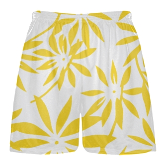Gold Hawaiian Lacrosse Shorts -  Hawaiian Basketball Shorts
