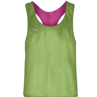 Womens Blank Pinnies Neon Green Hot Pink - Girls Pinnies