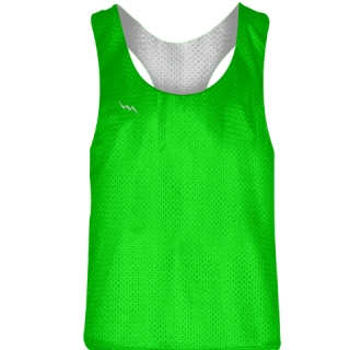 Blank Womens Pinnies - Neon Green White Racerback Pinnies - Girls Pinnies