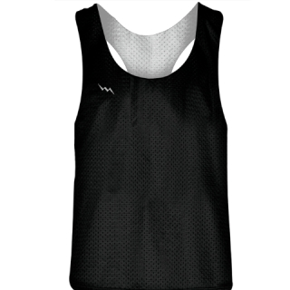 Blank Womens Pinnies - Black White Racerback Pinnies - Girls Pinnies