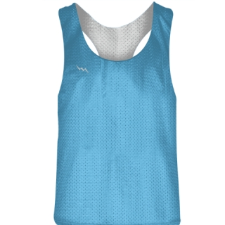 Blank Womens Pinnies - Powder Blue White Racerback Pinnies - Girls Pinnies