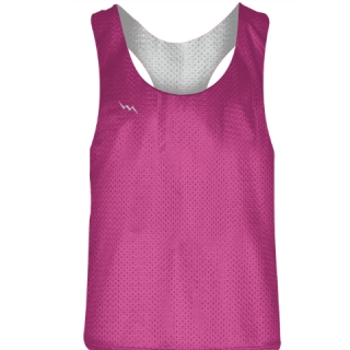 Blank Womens Pinnies - Hot Pink White Racerback Pinnies - Girls Pinnies