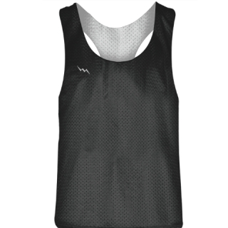 Blank Womens Pinnies - Charcoal Grey White Racerback Pinnies - Girls Pinnies