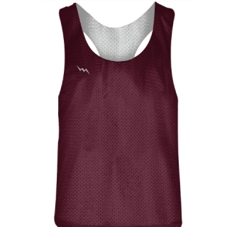 Blank Womens Pinnies - Maroon White Racerback Pinnies - Girls Pinnies