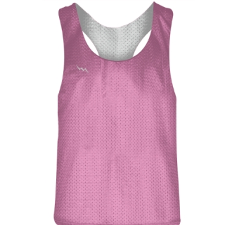 Blank Womens Pinnies - Pink White Racerback Pinnies - Girls Pinnies