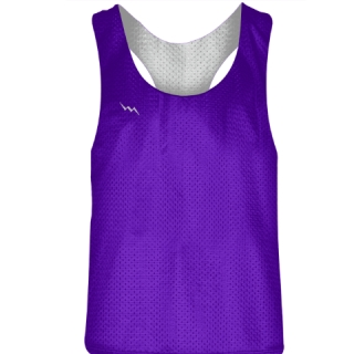 Blank Womens Pinnies - Purple White Racerback Pinnies - Girls Pinnies