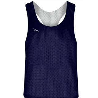 Blank Womens Pinnies - Navy Blue White Racerback Pinnies - Girls Pinnies