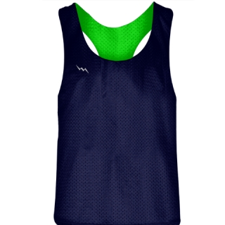Blank Womens Pinnies - Navy Blue Neon Green Racerback Pinnies - Girls Pinnies