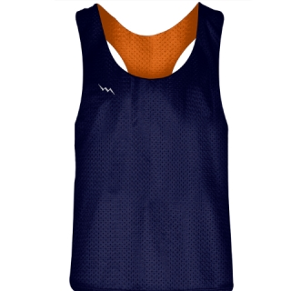 Blank Womens Pinnies - Navy Blue Orange Racerback Pinnies - Girls Pinnies