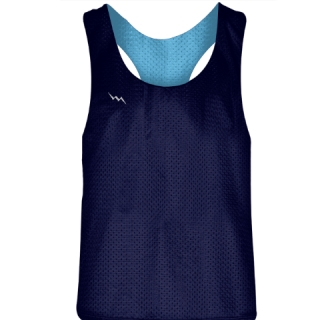 Blank Womens Pinnies - Navy Blue Powder Blue Racerback Pinnies - Girls Pinnies