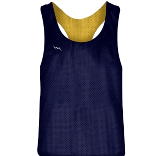 Blank Womens Pinnies - Navy Blue Gold Racerback Pinnies - Girls Pinnies