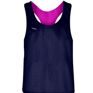 Blank Womens Pinnies - Navy Blue Hot Pink Racerback Pinnies - Girls Pinnies