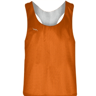 Blank Womens Pinnies -Orange White Racerback Pinnies - Girls Pinnies