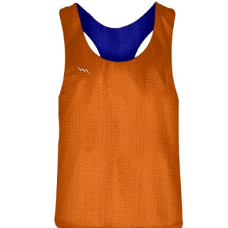Blank Womens Pinnies -Orange Blue Racerback Pinnies - Girls Pinnies