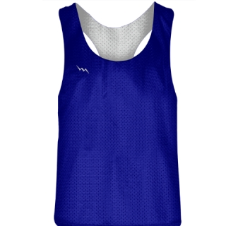 Blank Womens Pinnies -Royal Blue White Racerback Pinnies - Girls Pinnies