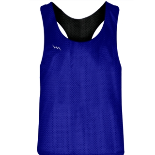 Blank Womens Pinnies -Royal Blue Black Racerback Pinnies - Girls Pinnies