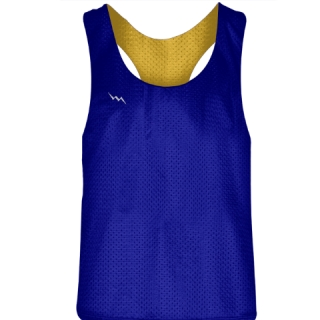Blank Womens Pinnies -Royal Blue Gold Racerback Pinnies - Girls Pinnies