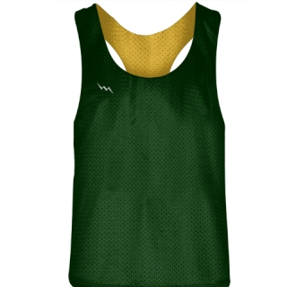 Blank Womens Pinnies -Dark Green Gold Racerback Pinnies - Girls Pinnies