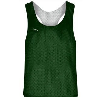 Blank Womens Pinnies -Dark Green White Racerback Pinnies - Girls Pinnies