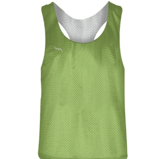 Blank Womens Pinnies -Lime Green White Racerback Pinnies - Girls Pinnies